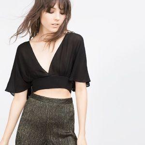 NWT Zara Black Flowing Flutter Sleeve Cropped Top